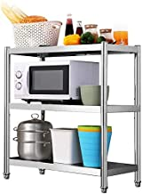 Home Living Museum/Stainless Steel Kitchen Rack Floor 3 Multi Layer Household Pot Rack Microwave Storage Rack Storage Rack...