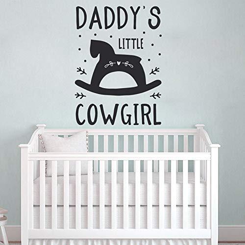 HNXDP Papas kleines Cowgirl Kinderzimmer Dekor niedlich Wandkunst Vinyl Aufkleber für Baby Girl Baby Dusche Geschenk Schlafzimmer Dekoration DIY BO20 57x78cm