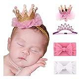 Mom & Beauty - Set di fasce per capelli, per bambina, con fiocco da 3 mesi a 2 anni Rose-Perles Taglia unica