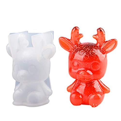 Souarts - Molde de silicona con forma de conejo, cerdo, gato, silicona, resina epoxi creativa, decoración, molde de resina epoxi para joyas, herramientas de joyas (ciervo)