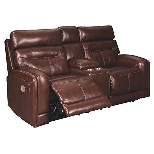 Signature Design by Ashley Sessom Power Reclining Loveseat Console Adjustable Headrest Walnut