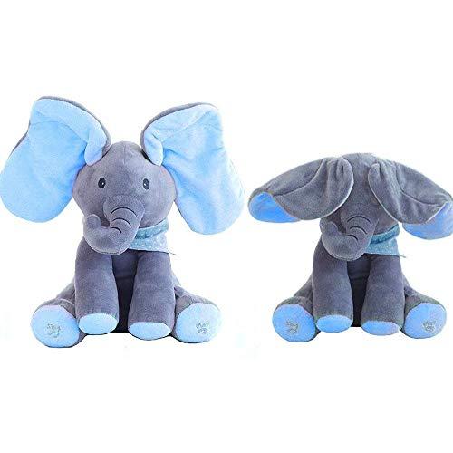 Bleyoum Peluche 1 Unidad De Orejas De Juguete Eléctrico De Elefante, Movimiento De Música, Animal Bebé, Ocultar Y Buscar, Gato, Muñeca Relajante, Elefante, Perro, Conejo, Juguete De Felpa