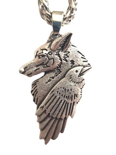Collar de cuervo y lobo – Potente colgante con símbolo místico, joya vikingo salvaje, totem del valor de la fuerza y odinismo – Símbolo tribal runa celta – Regalo unisex para hombre