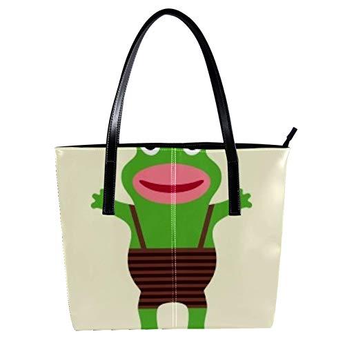 LORVIES Damen Latzhose Frosch Schultertasche PU Leder Handtasche Handtasche