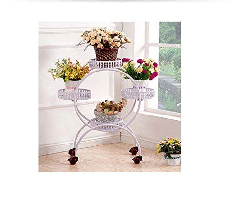 réa Fer Continental Multicouche Mobile Plancher Coulissant Porte-Pot de Fleurs voyantes Balcon (Couleur : Blanc)