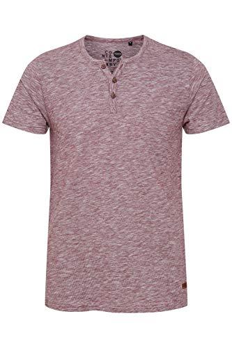!Solid Sigos Camiseta Básica De Manga Corta T-Shirt para Hombre con Cuello Grandad De 100% algodón, tamaño:L, Color:Wine Red (0985)