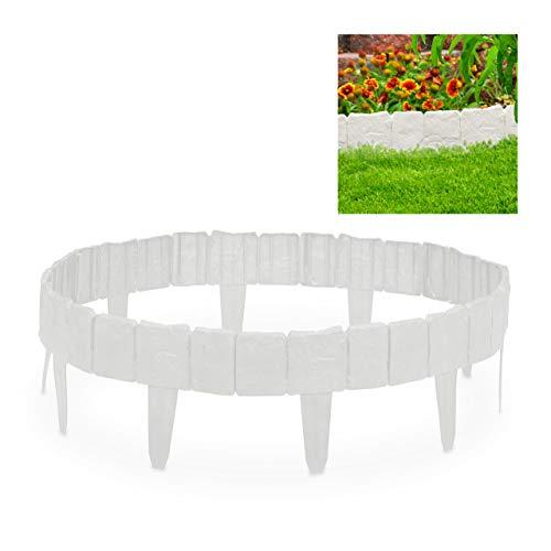 Relaxdays, Blanco Valla de jardín Decorativa, Set de 10 bordillos para césped, Estrecho, 10 cm, 10er Pack