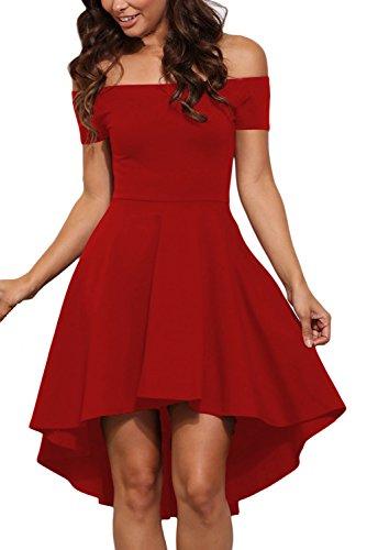 Sidefeel Women Off Shoulder Short Sleeve High Low Skater Dress X-Large Bright Red