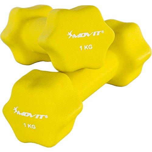 Movit 2er Set Neopren Hanteln, Kurzhanteln mit Oberfläche aus Neopren, 2X 1,0kg Gelb