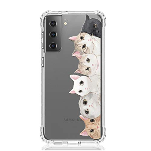 HUIYCUU Compatible with Galaxy S21 6.2' Case,Shockproof Anti-Slip Cute Animal Print Clear Design Pattern Funny Slim Crystal Soft Bumper Kid Girl Women Cover for Samsung Galaxy S21,Colorful Cats