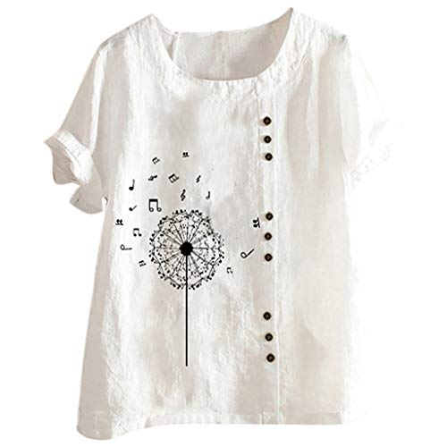 YBWZH Leinenhemd Shirt Hemdbluse Sommer Tops Baumwolle Leinen Tunika Rundhals Kurzarm Oberteile Hippie Shirt V-Ausschnitt Strand Yoga Top Bluse Große Größen BlusentopTops