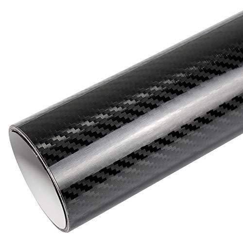 TipTopCarbon 16,45€/m² 5D Carbon Folie Super Glanz Autofolie schwarz Hochglanz BLASENFREI 2m x 1,52m mit Luftkanäle