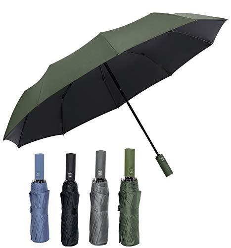 Sapor Design Regenschirm Mini |UV-Schutz, sturmfest, leicht, Klein, Kompakt, Auf-Zu-Automatik| edler Reise-Schirm für Herren Damen & Kinder, Taschenschirm Umbrella Grün stilvoll & elegant