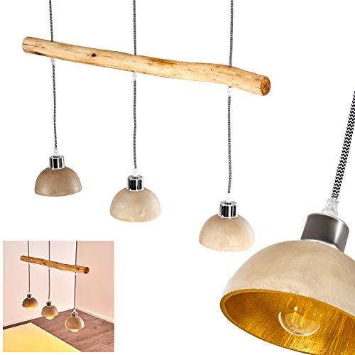 Pendelleuchte Ambri, moderne Hängelampe aus Beton/Holz in Beton/Gold, 3-flammig mit Textilkabel, Höhe max. 107 cm (kürzbar), 3 x E27 max. 40 Watt, geeignet für LED Leuchtmittel, Retro/Vintage-Design