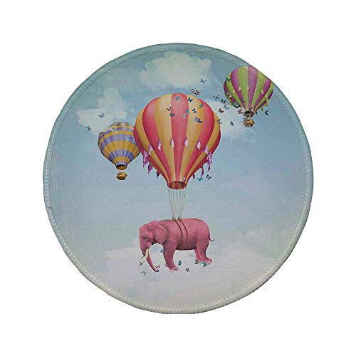 "Rutschfreies Gummi-rundes Mauspad Elefanten-Dekor rosa Elefant im Himmel mit Luftballons Illustration Daydream Fairytale Travel Decorative 7.9""x7.9\""x3MM"
