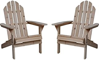Kotulas Fir Wood Unfinished Adirondack Chairs, Twin Pack
