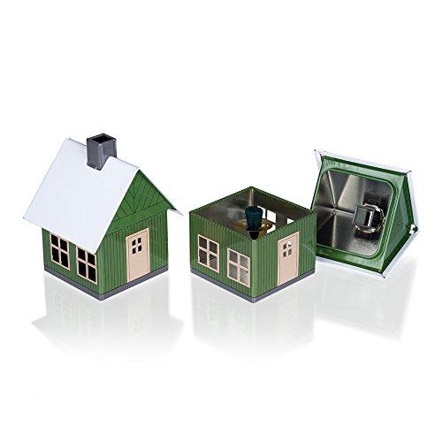 Crottendorfer Metall Häuser mit integriertem Räucherkerzenhalter Waldhaus, grün