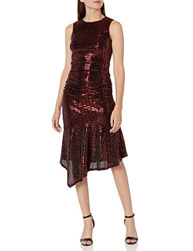 Donna Morgan Women's Stretch Metallic Knit Sleeveless Ruffle Skirt...