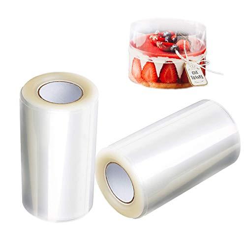 2 Rollos Collares para Tartas, 8cmx10m Transparentes Acetato Rollo, Cinta de Envoltura...