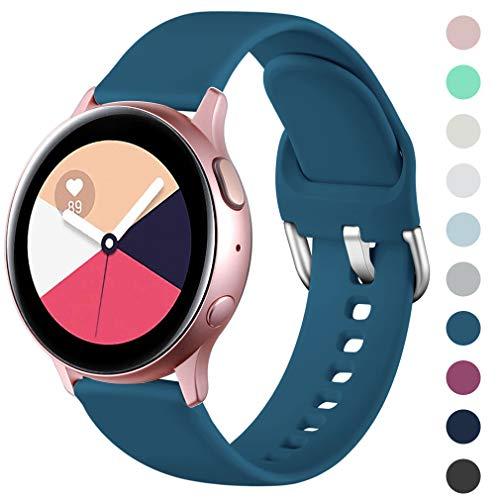 Wepro Armband Kompatibel mit Samsung Galaxy Watch Active/Active2 40mm/44mm, 20mm Weiche Silikon Ersatz Uhrenarmbänder Kompatibel mit Samsung Galaxy Watch 42mm/Gear S2 /Gear Sport, Klein Schieferblau