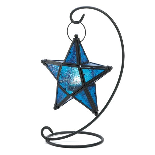 Blue Sapphire Star Tabletop Candle Holder