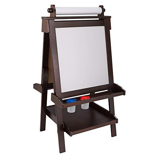 KidKraft Deluxe Wooden Easel with Chalkboard and Dry Erase Surfaces, Paper Roll and Paint Cups - Espresso, Gift for Ages 3+