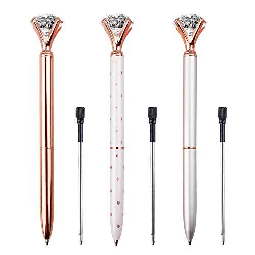 LONGKEY 6PCS Diamond Pens Large Crystal Diamond Ballpoint Pen Bling Metal Ballpoint Pen Office and School, Silver / White Rose Polka Dot / Rose Gold, Including 6Pen Refills. Photo #6