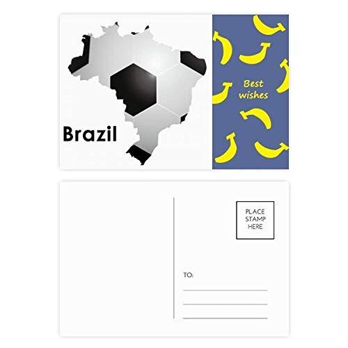 DIYthinker Voetbal Brazilië Kaart Vorm Brazilië Slogan Banaan Postkaart Set Thanks Card Mailing Side 20 stks 5.7 inch x 3.8 inch Multi kleuren