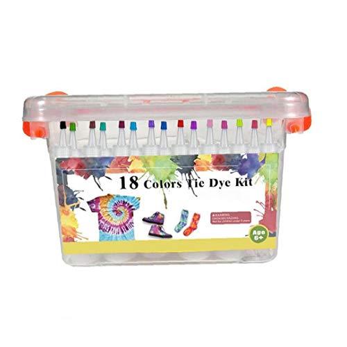 shentaotao Artes Partido Crafts teñido Anudado del Kit DIY Tela Tela Conjunto Tinte Sistema de la Pintura de los niños Graffiti Tinte en Polvo Kit de 18 Colores Decoración