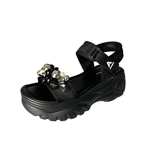Sommersandalen mit Plattform 6CM in atmungsaktiven Textil Frau Outdoor Schuhkorb Mode Runde Perlen Casual Endurance