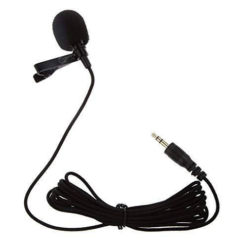 WILDCROC Collar Clip Microphone, 1.5 metre Long Wire   Omnidirectional Mic with Easy Clip-On   Perfect Sound Recording for YouTube, Interview, Video Conference, Podcast, iPhone/Android