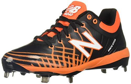 New Balance Men's 4040 V5 Metal Baseball Shoe, Black/Orange