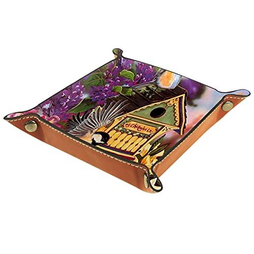 Bandeja de Cuero - Organizador - Pájaro casa flores verano - Práctica Caja de Almacenamiento para Carteras,Relojes,llaves,Monedas,Teléfonos Celulares y Equipos de Oficina