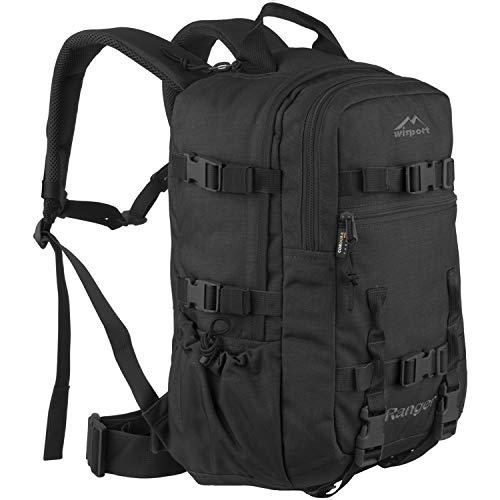 Wisport schwarzer Wanderrucksack für Damen & Herren + inkl. E-Book | Outdoor Survival Rucksack aus Cordura | kompakter Tourenrucksack Mädchen Jungs | Backpack schwarz | Ranger 30L, Black