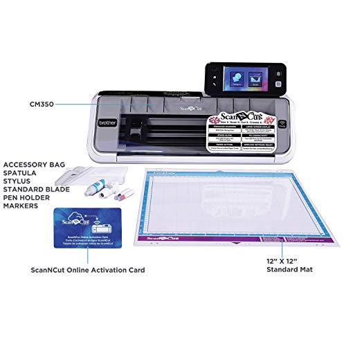Brother CM350E ScanNCut 2 Cutting Machine w   ith Scanner, Make DIY Vinyl Wall Décor, Custom Stickers and Stencil Sheets with 631 Included Patterns, ScanNCut Online Activation Card