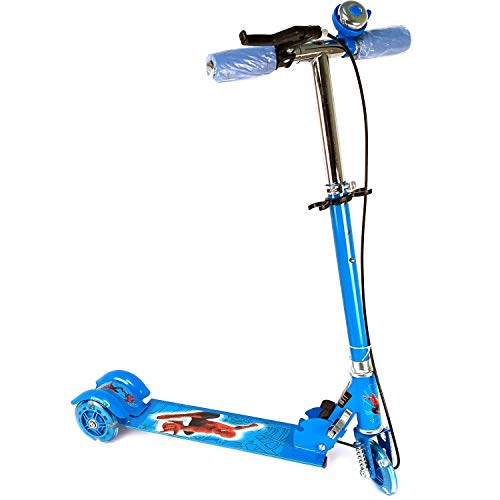 JBK Kids Scooter 3 Wheeler Scooters for Kids Kick Foldable Scooter with Brake Bell LED Lights in Wheels and Adjustable Handle Height (Blue)