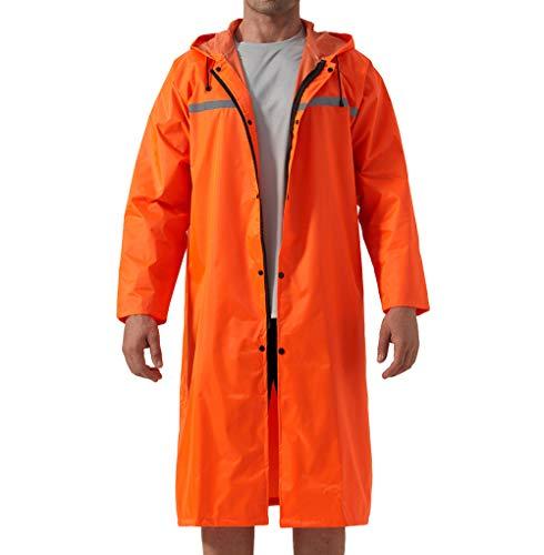 KEFITEVD Herren Regenmantel Lang Regenjacke Arbeitskleidung Wasserdicht über Knie Regenponcho Unisex Outdoor Camping Regenschutz 02# Orange L (Etikett: 2XL)