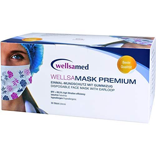 wellsamed wellsamask Mundschutz OP-Masken Einweg 50 Stück Mehrfarbig bunt Blumen Gummibänder 3-lagig