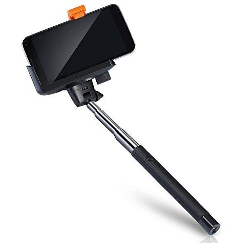 CSL - 105cm Bluetooth Selfie Stick | mit integrierten Bluetooth Fernauslöser | Universal Wireless Mobile Phone Monopod (Telescoping) | einstellbare Stange / Stab für Smartphone | Neues Modell Bluetooth
