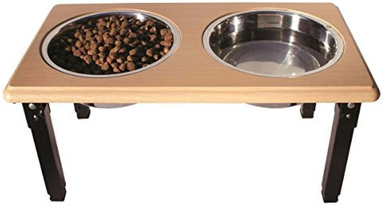 POSTUREPRO Adjustable Double Diner, Oak, 2Quart by Ethical Pet