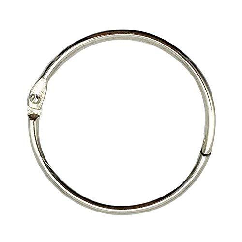 kingforest 100PCS Loose Leaf Binder Rings,1 Inch External Diameter, Silver,Nickel Plated Steel Book Rings,Key Rings, for School, Office,or Home