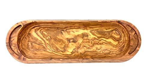 Schale 30x10x2cm aus Olivenholz handgefertigt auf Mallorca Snackschale Servierbrett 2 in 1