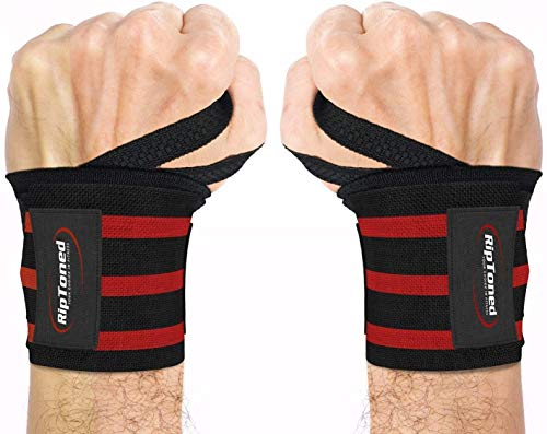Rip Toned Wrist Wraps - 18' Professional Grade with Thumb Loops - Wrist Support Braces - Men & Women - Weight Lifting, Crossfit, Powerlifting, Strength Training (Red – Stiff)