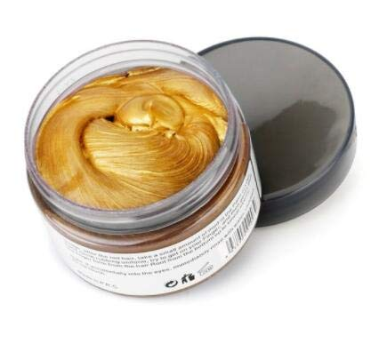 Temporary Hair Wax,YHMWAX Fashion Colorful Hair Wax Pomades Disposable Natural Hair Strong Style Gel Cream Hair Dye,Instant Hairstyle Mud Cream for Party, Cosplay, Masquerade etc. (Gold)