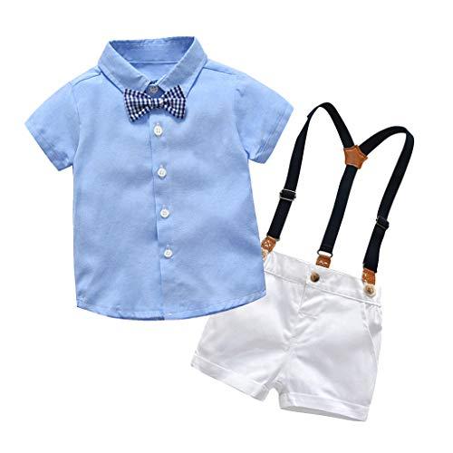 Conjuntos Bebe Niño, Lanskirt 3 Piezas Ropa de Camisa de Manga Corta con Pajarita a Lunares y Camisa de Color Liso+ Pantalones Cortos+ Traje de Caballero Bebe 3 a 24 Meses