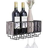 Vencipo Estantería de Vino de Pared de Metal para Organizador 4 Copas Vino Almacenaje, Estante Flotante Decoracion Para Cocina de Armarios Vino, Botelleros Vino Accesorio para Sala de Estar.