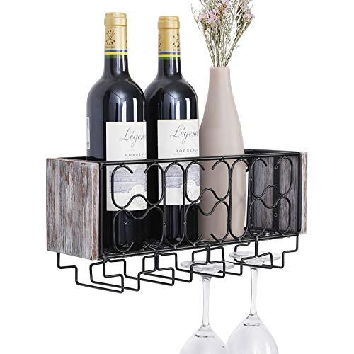 Vencipo Portabottiglie Vino Metallo per 4 Calici Vino Rosso Organizer, Mensole da Muro Design per Cantinetta Vino, Scaffale Metallo Vino Accessori per Sala da Pranzo, Camera da Letto e Cucina.