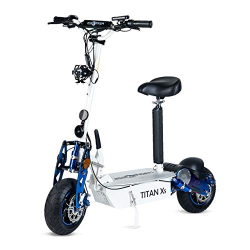 Titan - Patinete/Scooter eléctrico dos ruedas, con sillín, plegable, luz LED frontal, panel LCD, motor 2000W, velocidad hasta 40Km/h, autonomía hasta 30Km. Ideal para paseos urbanos. Color blanco.