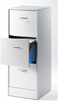 SIMMOB MATHA413AL Classeur 3 tiroirs pour dossiers Suspendus-Coloris-Aluminium, Panneaux de Particules de Bois mélaminé, 41,4 x 108,4 x 44 cm