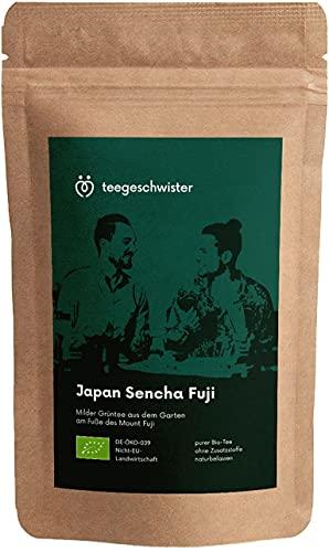teegeschwister® | BIO Grüner Tee Japan Sencha Fuji | loser premium Grüntee aus den Gärten am Fuße des berühmten Fuji Vulkans| handgerollter Blatttee | ohne zugesetzte Aromen | 100g